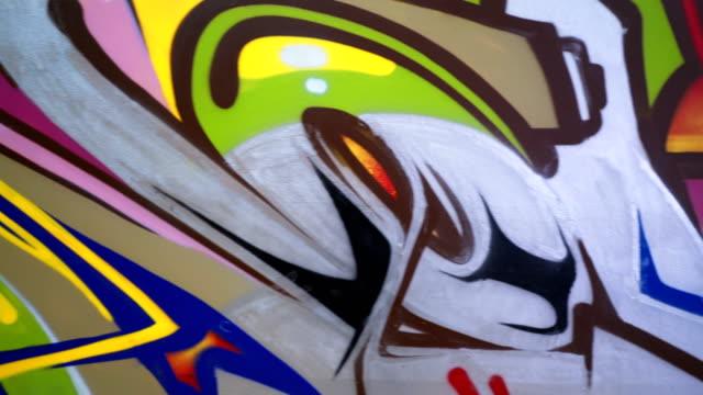 colorful graffiti mural - aerosol can stock videos & royalty-free footage