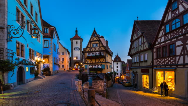 colorful half-timbered house at plönlein, rothenburg ob der tauber, tl, ws - old town stock videos & royalty-free footage