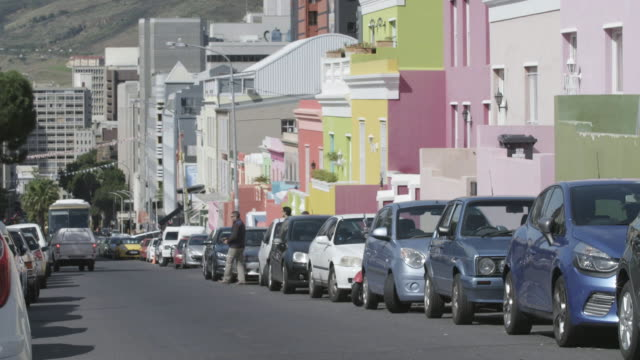colorful homes in the bo-kapp neighborhood in cape town, south africa - cape town stock videos & royalty-free footage