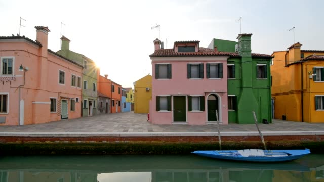 Colorful houses with canal and boat in Burano, Burano, Venice, Venetian Lagoon, Veneto, Italy