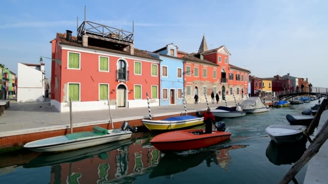 Colorful houses with canal and boats in Burano, Burano, Venice, Venetian Lagoon, Veneto, Italy
