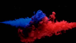 Colorful Ink mixing in water, Slow motion