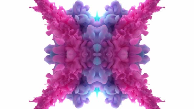 colorful ink swirling in water. mirror effect, kaleidoscope, mandala - 混ぜる点の映像素材/bロール