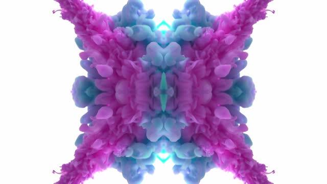 stockvideo's en b-roll-footage met colorful ink swirling in water. mirror effect, kaleidoscope, mandala, hypnosis, trance - spring flowing water