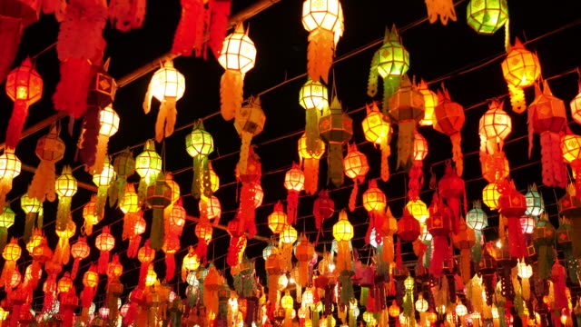 colorful lamp and lantern in loi krathong - chinatown stock videos & royalty-free footage
