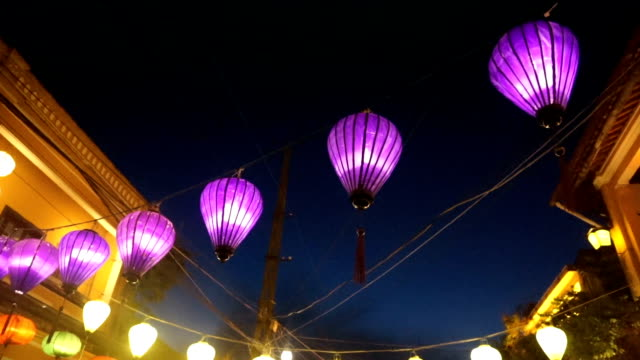 colorful lanterns in old quarter of hoi an , vietnam - wide stock videos and b-roll footage
