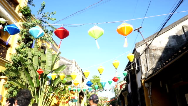 colorful lanterns in old quarter of hoi an , vietnam - traditionally vietnamese stock videos & royalty-free footage