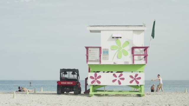 Colorful lifeguard deck in Miami, Florida