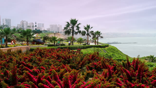 colorful lima peru boardwalk - lima peru stock videos and b-roll footage