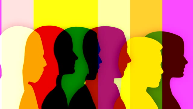 Colorful loopable silhouettes of people, 4 versions with different colors.