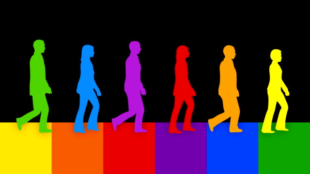 colorful loopable silhouettes of people walking toward the same goal. - chief leader stock videos & royalty-free footage