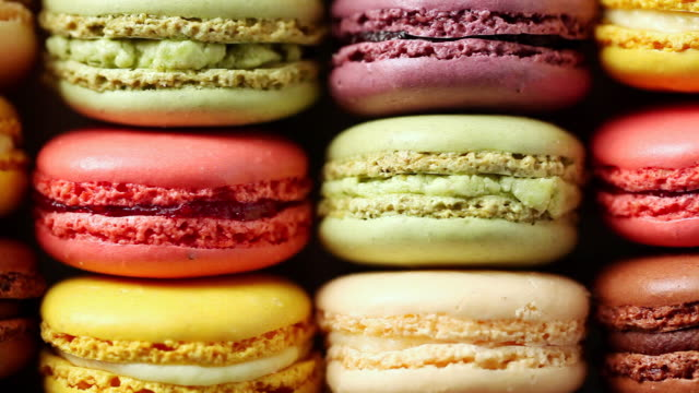 cu pan colorful macaroon placed in row / seoul, south korea - macaroon stock videos and b-roll footage
