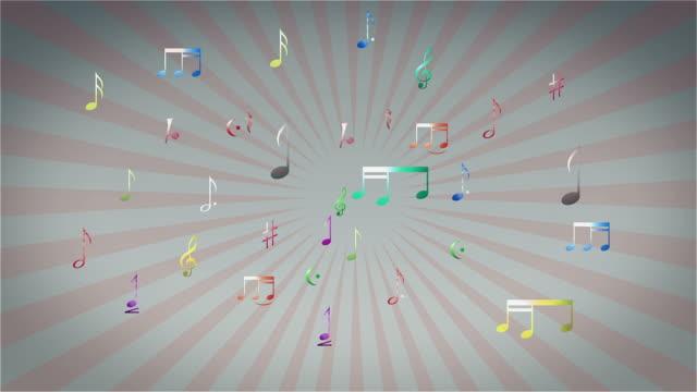 カラフルなミュージカルノート - 美術工芸品点の映像素材/bロール