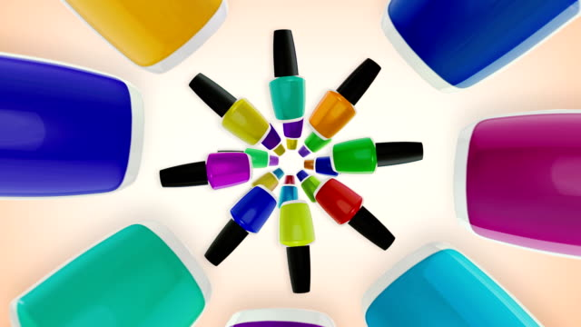 Colorful nail polishes bottles.
