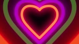 Colorful neon heart tunnel
