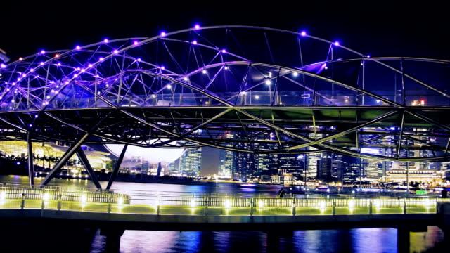 colorful night bridge - helix bridge stock videos & royalty-free footage