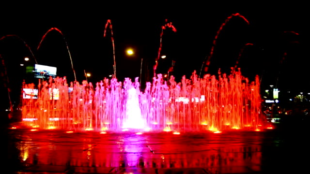 colorful night fountain - fountain stock videos and b-roll footage