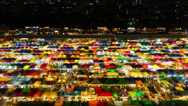 Colorful Night market time lapse