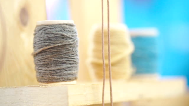 Colorful of cotton thread spool.