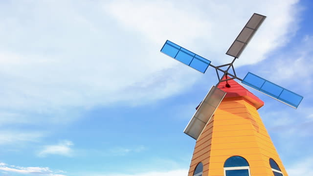 colorful old windmill.