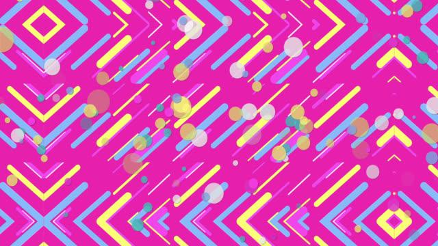vídeos de stock e filmes b-roll de colorful pastel seamless geometric patterns pink background - computer graphic