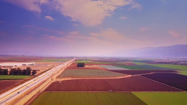 colorful patchwork of fields near salinas, ca - aerial view - valley stock videos & royalty-free footage