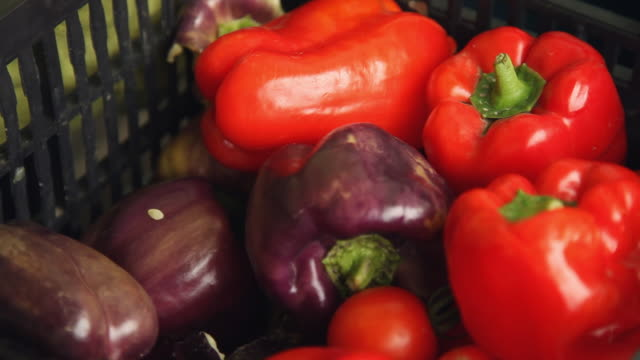 Colorful peppers in a black plastic basket