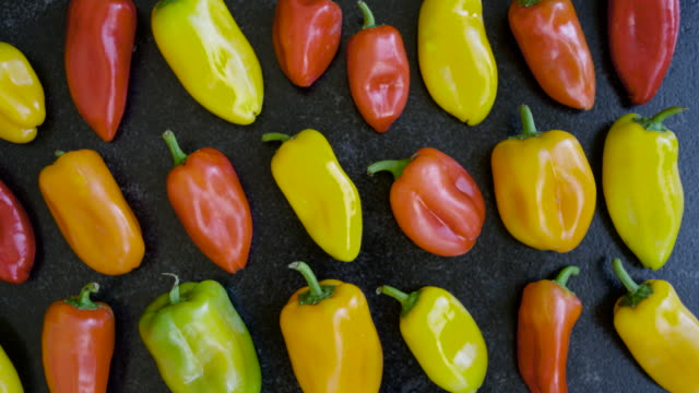 colorful peppers & tomatoes, vinaigrette & spice jamboree (4k) - peperone video stock e b–roll