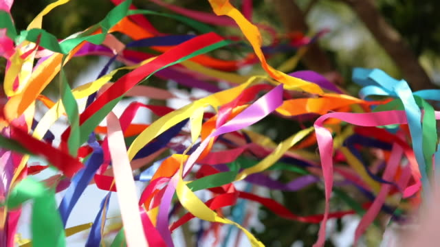 colorful ribbons are fluttering in the wind. - opening ceremony stock videos & royalty-free footage