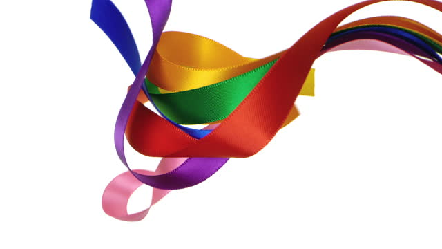 7 colorful ribbons on white background, for celebration events and party for new year, birthday party, christmas or any holidays, waiving and curling in super slow motion and close up - satin stock videos & royalty-free footage