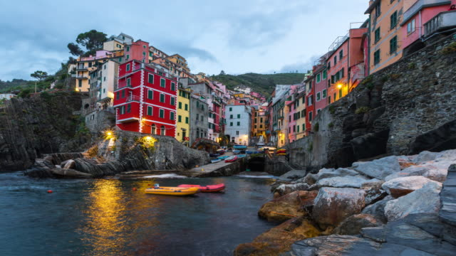 Colorful Riomaggiore fisherman village in National park Cinque Terre, Liguria, Italy