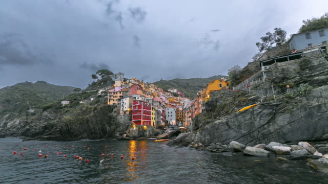 colorful riomaggiore fisherman village in national park cinque terre, liguria, italy - tuscany stock videos and b-roll footage