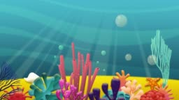 Colorful sea bottom. Underwater scenery stock video. Deep blue ocean Coral reef. Tropical sea and coral reef. Stock video