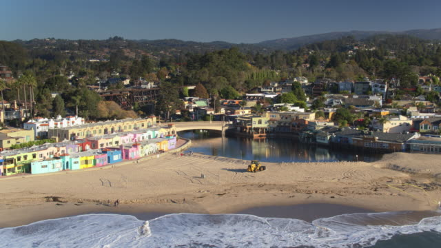 colorful seafront houses in capitola, ca - aerial shot - santa cruz county california stock videos & royalty-free footage