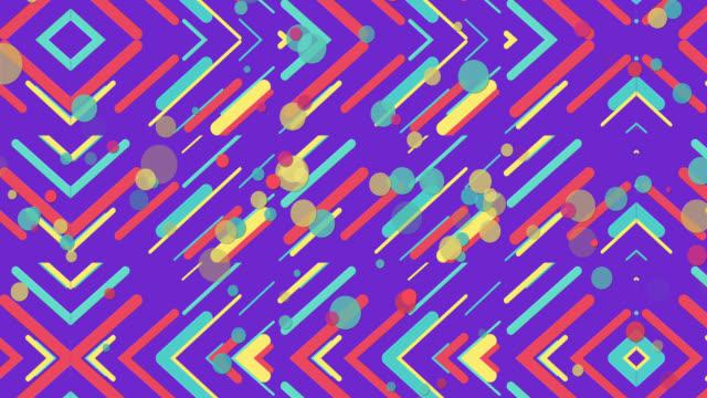 vídeos y material grabado en eventos de stock de coloridos patrones geométricos sin costuras fondo púrpura - geometría