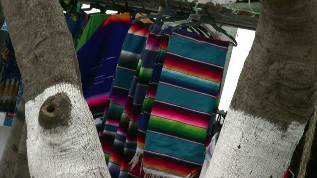 vidéos et rushes de colorful serapes hang on a vendors rack between two palm trees. - châle