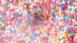 Colorful sprinkles sugar candy in blender.