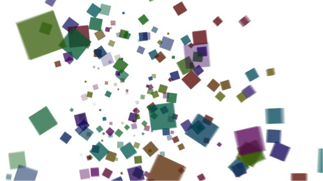 Colorful squares falling over white Background