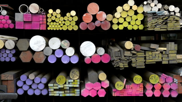 colorful steel in a shop - stahl stock-videos und b-roll-filmmaterial