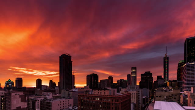 Colorful Stormy Evening in Downtown Los Angeles - Time Lapse