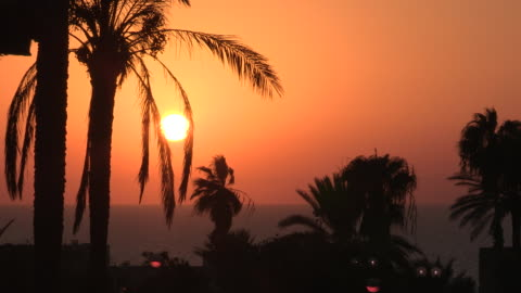 colorful sunset, jaffa, israel - ジャファ点の映像素材/bロール