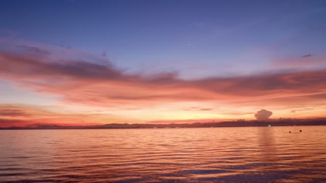 colorful sunset with seascape,golden hour - golden hour stock videos & royalty-free footage