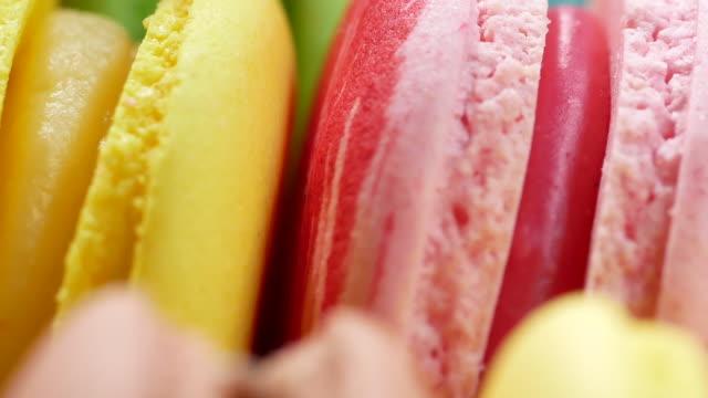 colorful sweet macaroons - macaroon stock videos & royalty-free footage