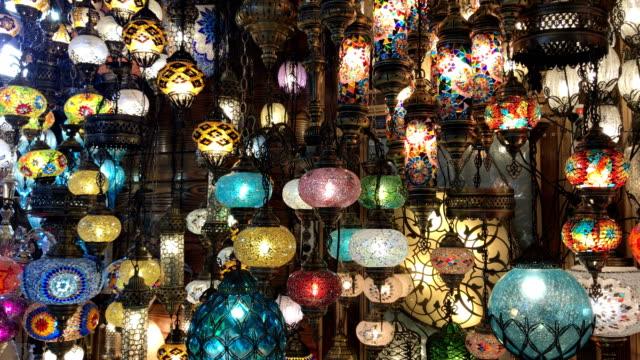 colorful turkish lanterns in grand bazaar, istanbul - grand bazaar istanbul stock videos & royalty-free footage