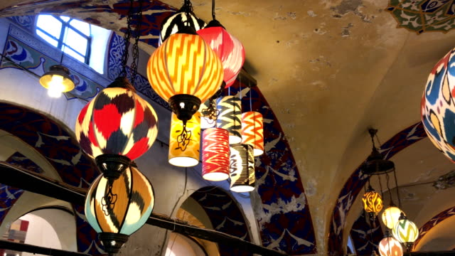 colorful turkish lanterns in grand bazaar, istanbul - lamp shade stock videos & royalty-free footage