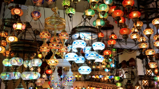colorful turkish lanterns in grand bazaar, istanbul - middle east stock videos & royalty-free footage