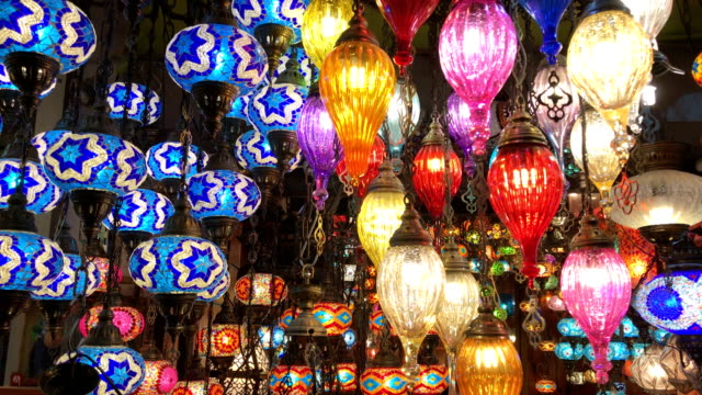 colorful turkish lanterns in grand bazaar, istanbul - souvenir stock videos and b-roll footage