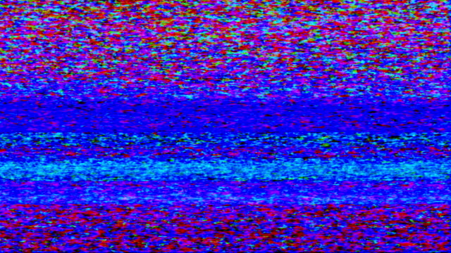 Colorful TV Noise and TV Static fill the screen (Loop).