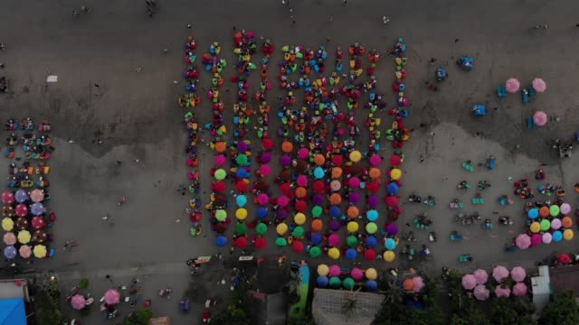 colorful umbrellas on beach - bean bag stock videos & royalty-free footage