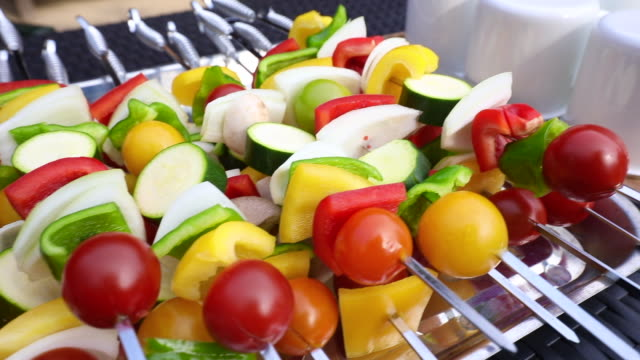 colorful vegetables on a skewer - skewer stock videos & royalty-free footage